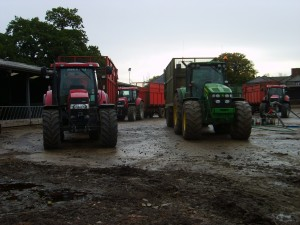 Tractors and trailers ready and waiting